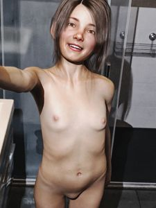 Rating: Questionable Score: 37 Tags: 1girl 3dcg bathroom brown_eyes brown_hair looking_at_viewer mons_veneris navel nipples nude photorealistic pose pussy self_shot shadow smile standing twitchster xanya User: fantasy-lover