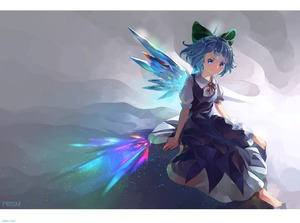 Rating: Safe Score: 0 Tags: 1girl abstract_background barefoot blue_dress blue_eyes blue_hair bow cirno dress gradient gradient_background hair_bow head_tilt light_particles looking_at_viewer neck_ribbon outstretched_leg pinafore_dress prism puffy_short_sleeves puffy_sleeves red_neckwear ribbon riki6 shirt short_hair short_sleeves sitting smile solo touhou_project white_shirt wing_collar wings User: DMSchmidt