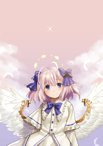Rating: Safe Score: 0 Tags: 1girl antenna_hair blue_eyes bow dress emil_chronicle_online eyebrows_visible_through_hair feathered_wings flat_chest hair_bow halo highres kasuga_yukihito lavender_hair low_wings short_hair smile solo white_dress white_wings wings User: DMSchmidt
