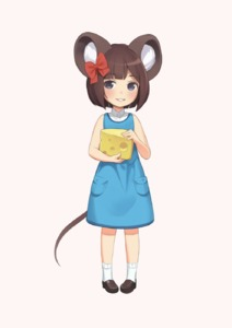 Rating: Safe Score: 0 Tags: 1girl animal_ears blue_eyes blush brown_hair cheese cristalavi dress food full_body hair_ribbon highres hime_cut holding holding_food looking_at_viewer mouse_ears mouse_tail original ribbon short_hair simple_background smile solo tail white_legwear User: DMSchmidt