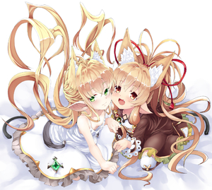 Rating: Safe Score: 2 Tags: 2girls ahoge animal_ears antenna_hair bare_shoulders cat_ears cat_tail cheek-to-cheek clenched_hand downblouse dress extra_ears fang flat_chest granblue_fantasy green_eyes hair_ribbon harvin jacket kemonomimi_mode long_hair mahira_(granblue_fantasy) melissabelle multiple_girls no_bra noa_(nagareboshi) open_mouth pointy_ears prehensile_hair red_eyes ribbon sidelocks sitting smile tail very_long_hair white_dress User: DMSchmidt