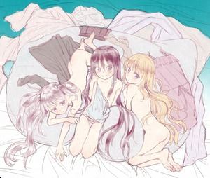 Rating: Questionable Score: 6 Tags: 3girls ass bad_fantia_id bad_id bangs barefoot bed_sheet belt blonde_hair blue_panties blush bow camisole character_request chemise clothes_removed collarbone covered_navel cushion eyebrows_visible_through_hair feet flat_chest from_above full_body hair_bow half-closed_eyes highres honryou_wa_naru leaning_back legs_together light_blush long_hair looking_at_viewer lying miniskirt multiple_girls nude on_stomach pantsu plaid plaid_skirt pleated_skirt purple_eyes purple_hair seiza shiny shiny_hair shirt side-tie_panties sitting skirt topless underwear underwear_only very_long_hair User: DMSchmidt