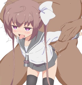 Rating: Explicit Score: 9 Tags: 1boy 1girl black_legwear blush brown_hair doggystyle hair_ornament hair_ribbon momochi_tamate purple_eyes ribbon saliva school_uniform sex simple_background skirt slow_start standing_sex thighhighs tongue tongue_out trg-_(sain) twin_tails white_background User: DMSchmidt