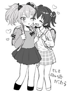 Rating: Safe Score: 1 Tags: 2girls akagi_miria amezawa_koma backpack bag bangs black_legwear blush bow cheek-to-cheek closed_eyes collared_shirt fur_sweater greyscale hair_bow heart highres idolmaster idolmaster_cinderella_girls jewellery jougasaki_mika medium_hair miniskirt monochrome multiple_girls necklace one_eye_closed open_mouth plaid plaid_skirt pleated_skirt polka_dot polka_dot_bow randoseru shirt skirt smile sweater twin_tails white_background white_legwear User: Domestic_Importer