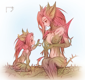 Rating: Safe Score: 4 Tags: 2girls bebseo boots breasts cleavage dryad dual_persona highres league_of_legends long_hair medium_breasts monster_girl mother_and_daughter multiple_girls pink_hair plant red_hair shoes thigh_boots thighhighs thorns vines wearing_plant yellow_eyes younger zyra User: Domestic_Importer