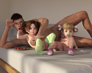 Rating: Explicit Score: 40 Tags: 1boy 2girls 3dcg age_difference anus blonde_hair brown_hair flat_chest hair_ribbon multiple_girls nipples nude on_bed pacifier penis penis_on_face photorealistic pussy ribbon short_twin_tails slimdog slippers strawberry striped striped_thighhighs thighhighs toddlercon twin_tails User: yobsolo