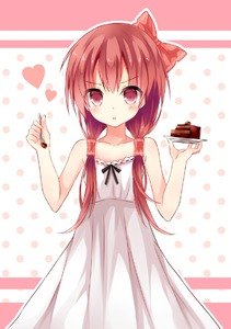 Rating: Safe Score: 2 Tags: 1girl alternate_costume alternate_hairstyle bare_shoulders blush bow cake dress food fork hair_bow hair_tubes hakurei_reimu heart long_hair mizumidori plate red_eyes solo touhou_project User: DMSchmidt