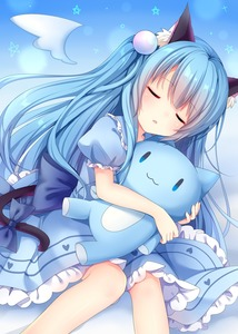 Rating: Safe Score: 1 Tags: 1girl absurdres amashiro_natsuki angel_wings animal_ears blue_dress blue_hair bow cat_ears cat_tail detached_wings dress highres long_hair open_mouth original puffy_short_sleeves puffy_sleeves short_sleeves sleeping solo stuffed_animal stuffed_cat stuffed_toy tail tail_bow very_long_hair wings User: DMSchmidt