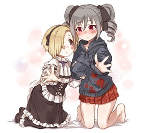 Rating: Safe Score: 0 Tags: 10s 2girls 7010 :t bare_legs barefoot blonde_hair blood blood_splatter blush brown_eyes cosplay costume_switch drill_hair frills gothic_lolita grey_hair hair_over_one_eye hair_ribbon hairband height_difference hood hoodie idolmaster idolmaster_cinderella_girls kanzaki_ranko kanzaki_ranko_(cosplay) kneeling lolita_fashion multiple_girls outstretched_hand plaid plaid_skirt pout red_eyes red_skirt ribbon shirasaka_koume shirasaka_koume_(cosplay) short_hair skirt sleeves_past_wrists tears twin_drills twin_tails User: DMSchmidt