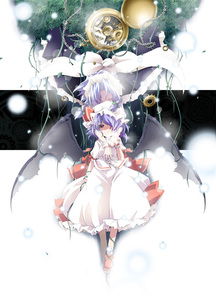 Rating: Safe Score: 1 Tags: 2girls bat_wings chain hairband ham_(points) hat izayoi_sakuya maid multiple_girls purple_hair red_eyes remilia_scarlet short_hair silver_hair team_shanghai_alice touhou_project wings User: DMSchmidt