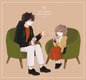 Rating: Safe Score: 1 Tags: 1boy 1girl aran_sweater armchair bag bangs black_footwear black_hair black_jacket blue_eyes blush bob_cut border brown_background brown_hair chair character_name collared_shirt cup disposable_cup drawstring drink drinking_straw frappuccino grey_sweater haibara_ai holding holding_cup hood hood_down hooded_jacket jacket kuroba_kaito looking_at_another meitantei_conan orange_skirt orange_sweater pants shirt shoes short_hair simple_background skirt sleeves_past_wrists smile socks srrr315 sweater talking toggles whipped_cream white_legwear white_pants white_shirt yellow_coat User: DMSchmidt