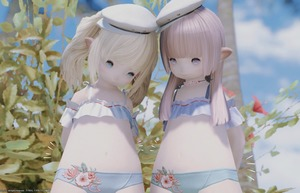 Rating: Safe Score: 4 Tags: 2girls 3dcg bangs bikini blonde_hair blue_eyes blunt_bangs brown_hair final_fantasy final_fantasy_xiv flat_chest hat highres lalafell leaf long_hair looking_at_viewer midriff multiple_girls navel outdoors pantsu pointy_ears smile source_request swimsuit tree twin_tails underwear User: DMSchmidt