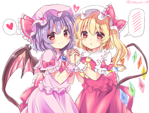 Rating: Safe Score: 0 Tags: 2girls bat_wings blonde_hair blush bow dress eyebrows_visible_through_hair flandre_scarlet hat heart highres lavender_hair multiple_girls ramudia_(lamyun) red_bow red_eyes red_neckwear remilia_scarlet short_hair siblings simple_background sisters speech_bubble spoken_blush spoken_heart touhou_project twitter_username white_background wings yellow_neckwear User: DMSchmidt