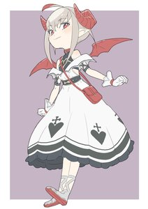 Rating: Safe Score: 3 Tags: 1girl absurdres ahoge bag bangs bare_shoulders belt_collar blush border collar cross cross-laced_footwear curled_horns demon_girl demon_horns demon_wings donguri_suzume dress flat_chest from_below full_body gloves grey_hair handbag heart highres horns long_dress looking_down makaino_ririmu multicoloured_hair nijisanji pointy_ears purple_background red_bag red_eyes red_horns red_wings short_hair sidelocks simple_background sleeveless sleeveless_dress solo streaked_hair white_dress white_gloves wings User: DMSchmidt