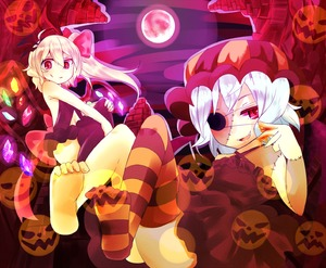 Rating: Safe Score: 1 Tags: 2girls alternate_costume backless_outfit bare_arms bare_shoulders barefoot bat_wings blonde_hair dress eye_contact feet flandre_scarlet full_moon glowing glowing_wings hair_ribbon halloween hands_on_knees hands_on_own_knees hat head_wings highres jack-o'-lantern looking_at_another looking_at_viewer midriff moon multiple_girls navel navel_cutout no_shoes open_mouth pink_eyes purple_dress purple_legwear red_moon remilia_scarlet ribbon short_hair siblings side_ponytail silver_hair single_thighhigh sisters sitting smile smirk stitches striped striped_legwear thighhighs touhou_project wankoo-mikami wings zombie User: Domestic_Importer