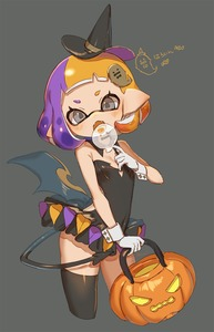 Rating: Safe Score: 3 Tags: 1girl black_legwear black_leotard blush candy cropped_legs demon_tail detached_collar domino_mask food gloves grey_background hair_ornament halloween halloween_basket hat highres inkling leotard lollipop looking_at_viewer mask multicoloured_hair open_mouth single_thighhigh solo splatoon strapless strapless_leotard tail tentacle_hair thighhighs two-tone_hair white_gloves wings witch_hat yu-ri User: DMSchmidt