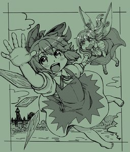 Rating: Safe Score: 0 Tags: 2girls :d ascot bangs barefoot blush bow cirno daiyousei dress eyebrows_visible_through_hair fairy_wings flying full_body green hair_bow highres holding_hands ice ice_wings long_hair looking_at_viewer mary_janes monochrome multiple_girls natsushiro neck_ribbon open_mouth outdoors ponytail ribbon scarlet_devil_mansion shoes short_hair short_sleeves smile socks sweat touhou_project wings User: DMSchmidt