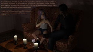 Rating: Safe Score: 4 Tags: 1boy 1girl 3dcg age_difference alcohol candle candlelight coffee_table couch dressed hardway_house highres original photorealistic purple_hair self_upload shorts sitting talking tank_top text virginlover wine User: Virginlover