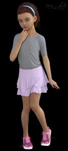 Rating: Safe Score: 4 Tags: 1girl 3dcg brown_hair charlotte finger_to_mouth flat_chest hairband looking_at_viewer messalina original photorealistic pose shoes simple_background skirt solo User: fantasy-lover