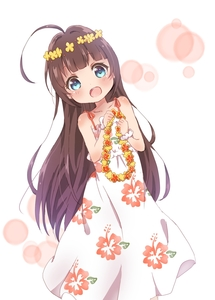 Rating: Safe Score: 4 Tags: 1girl ahoge alternate_hairstyle blue_eyes blush brown_hair dress head_wreath highres hinatsuru_ai long_hair looking_at_viewer mearian open_mouth print_dress ryuuou_no_oshigoto! sleeveless sleeveless_dress solo white_dress User: Domestic_Importer