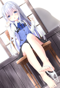 Rating: Safe Score: 1 Tags: 1girl :o bangs barefoot black_skirt blue_bow blue_eyes blue_hair blue_vest blush bow chair collared_shirt eyebrows_visible_through_hair fingernails gochuumon_wa_usagi_desu_ka? hair_between_eyes hair_ornament hands_up highres indoors kafuu_chino kouda_suzu long_hair long_sleeves looking_at_viewer on_chair pantsu pantsu_around_one_leg parted_lips rabbit_house_uniform shadow shirt sitting skirt sleeves_past_wrists solo toenails underwear uniform very_long_hair vest waitress white_pantsu white_shirt window x_hair_ornament User: DMSchmidt