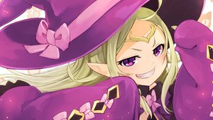 Rating: Safe Score: 0 Tags: 1girl bow circlet fire_emblem fire_emblem_heroes fire_emblem_kakusei green_hair grin halloween_costume hat highres long_hair mamkute nakabayashi_zun nono pink_bow pointy_ears purple_eyes sleeves_past_fingers sleeves_past_wrists smile solo witch_hat User: DMSchmidt