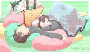 Rating: Safe Score: 0 Tags: 1boy 2girls brown_hair cross cross_necklace fate/zero fate_(series) green_hair jewellery kotomine_kirei mother_and_daughter multiple_girls necklace pillow ruchi sleeping toosaka_aoi toosaka_rin twin_tails younger User: DMSchmidt