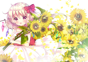 Rating: Safe Score: 0 Tags: 1girl bangs bare_arms bare_shoulders blonde_hair bow crystal dress eyebrows_visible_through_hair flandre_scarlet flower hair_between_eyes hair_bow head_tilt holding holding_flower long_hair looking_at_viewer one_side_up red_bow red_eyes rikatan sleeveless sleeveless_dress solo sunflower touhou_project white_background white_dress wings yellow_flower User: DMSchmidt