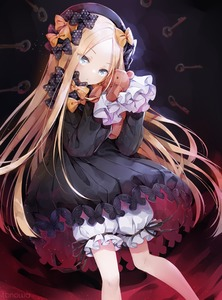 Rating: Safe Score: 0 Tags: 1girl abigail_williams_(fate/grand_order) artist_name bangs black_bow black_dress black_hat blonde_hair bloomers blue_eyes bow butterfly dress eyebrows_visible_through_hair eyes_visible_through_hair fate/grand_order fate_(series) forehead hair_bow hat head_tilt highres holding holding_stuffed_animal key long_hair long_sleeves looking_at_viewer orange_bow parted_bangs polka_dot polka_dot_bow sleeves_past_wrists solo stuffed_animal stuffed_toy teddy_bear tonowa underwear very_long_hair white_bloomers User: DMSchmidt