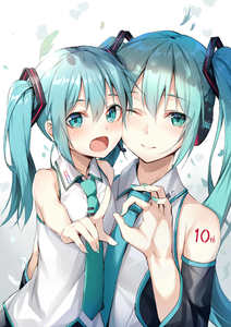 Rating: Safe Score: 0 Tags: 2girls :d ;) alexmaster aqua_eyes aqua_hair cheek-to-cheek chibi_miku detached_sleeves dual_persona hatsune_miku headset highres long_hair looking_at_viewer multiple_girls nail_polish necktie one_eye_closed open_mouth smile twin_tails vocaloid younger User: DMSchmidt