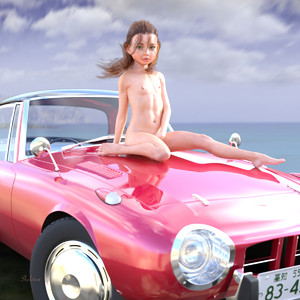 Rating: Questionable Score: 9 Tags: 1girl 3dcg brown_hair car car_hood flat_chest long_hair navel nipples nude outdoors photorealistic self_upload sitting skeleton_(3d-artist) sky solo User: loli4ever