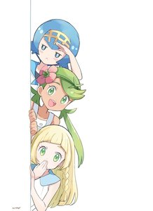 Rating: Safe Score: 3 Tags: 3girls :< artist_name bangs bare_shoulders blonde_hair blue_eyes blue_hair blue_sailor_collar blush braid brown_skin closed_mouth collarbone covering_mouth dress eyebrows_visible_through_hair flat_chest flower green_eyes green_hair green_hairband hair_flower hair_ornament hairband half-closed_eyes hand_up happy highres jpeg_artifacts light_blush lillie_(pokemon) long_hair looking_at_viewer mao_(pokemon) mei_(maysroom) multiple_girls npc_trainer open_mouth overalls peeking_out pink_flower pokemon pokemon_(game) pokemon_sm sailor_collar shading_eyes shiny shiny_hair shirt short_hair signature simple_background sleeveless sleeveless_dress smile suiren_(pokemon) swept_bangs teeth tied_hair trial_captain twin_tails upper_body white_background white_dress white_shirt yellow_hairband User: DMSchmidt