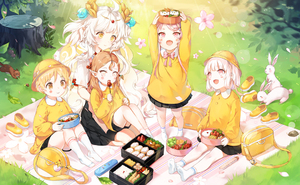 Rating: Safe Score: 5 Tags: 5girls :d animal arms_up bag bangs black_skirt blonde_hair blush blush_stickers brown_eyes bunny closed_mouth collared_shirt copyright_request day eyebrows_visible_through_hair fang flower food grass hat holding holding_food kindergarten_bag kindergarten_uniform kneehighs light_brown_hair long_hair long_sleeves multiple_girls no_shoes obentou open_mouth outdoors petals picnic pink_flower pink_hair pleated_skirt pointy_ears school_hat shade shirt shoes shoes_removed short_sleeves sitting skirt smile socks squirrel standing thick_eyebrows tree_stump very_long_hair white_hair white_legwear white_shirt yellow_eyes yellow_footwear yellow_hat yellow_shirt yumaomi User: DMSchmidt