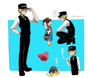 Rating: Safe Score: 0 Tags: 1girl 2boys :d animal_print arm_behind_back asaya_minoru balloon bangs billy_the_kid_(fate/grand_order) black_footwear black_hair black_hat black_vest blonde_hair blue_background blue_shorts brown_hat closed_eyes cow_print cowboy_hat disney eyebrows_visible_through_hair fate/grand_order fate_(series) green_eyes hair_between_eyes hand_on_headwear hat holding holding_balloon long_sleeves looking_at_another mr._potato_head multiple_boys one_knee open_mouth peaked_cap profile red_shirt shirt shoes shorts sleeves_pushed_up smile socks translated twin_tails twitter_username two-tone_background vest waving white_background white_legwear white_shirt yellow_footwear yellow_shirt User: Domestic_Importer