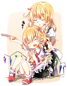 Rating: Safe Score: 1 Tags: +++ 2girls :d ^_^ absurdres alternate_hairstyle apron black_dress blonde_hair blush braid closed_eyes comb dress eyebrows_visible_through_hair fang flandre_scarlet full_body gokuu_(acoloredpencil) grin hair_ribbon hairdressing happy highres kirisame_marisa kneeling long_hair low_wings multiple_girls no_hat no_headwear open_mouth puffy_short_sleeves puffy_sleeves ribbon shoes short_hair short_sleeves side_ponytail simple_background single_braid sitting skirt skirt_set smile touhou_project tress_ribbon waist_apron wings yellow_background User: DMSchmidt