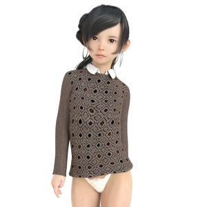 Rating: Safe Score: 8 Tags: 1girl 3dcg arm_behind_back black_eyes black_hair closed_mouth cowboy_shot earrings jewellery libidoll long_hair looking_at_viewer original pantsu photorealistic solo standing sweater underwear white_pantsu User: Domestic_Importer