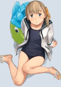 Rating: Safe Score: 1 Tags: 1girl alternate_costume arm_support artist_name bangs black_swimsuit blonde_hair blue_background blue_eyes blue_sailor_collar blunt_bangs flat_chest full_body hair_ornament hair_ribbon innertube jacket kantai_collection long_hair looking_at_viewer makio_(makiomeigenbot) open_clothes ribbon sailor_collar sandals school_swimsuit shin'you_(kantai_collection) side_ponytail solo swimsuit white_jacket User: Domestic_Importer