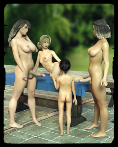 Rating: Explicit Score: 18 Tags: 3dcg 4girls age_difference ass black_hair blonde_hair breasts full-package_futanari futa_with_female futanari highres leaning_to_the_side medium_breasts multicoloured_hair multiple_girls multiple_penises nude open_mouth original penis photorealistic small_breasts standing starkers testicles uncensored User: Domestic_Importer