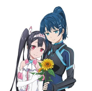 Rating: Safe Score: 0 Tags: 2girls album_cover artist_request bare_shoulders black_bodysuit black_hair blue_bodysuit blue_brooch blue_gloves blue_hair blush bodysuit bow bowtie breastplate breasts brooch center_frills collarbone cover dress egao_no_daika elbow_gloves fingernails flower frilled_dress frills gloves hair_between_eyes hair_ornament hairclip half-closed_eyes head_on_another's_shoulder head_on_head heart-shaped_gem highres holding holding_flower jewellery light_blue_eyes lips medium_breasts mole mole_under_eye multiple_girls official_art pilot_suit pink_eyes pink_neckwear ponytail shiny shiny_hair simple_background sleeveless sleeveless_dress small_breasts smile stella_shining strapless strapless_dress sunflower tiara twin_tails white_background white_dress white_frills white_gloves yuuki_soleil User: DMSchmidt