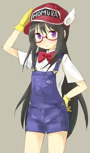 Rating: Safe Score: 2 Tags: 1girl :o akemi_homura baseball_cap black_hair blush bow bowtie character_name clothes_writing cosplay cowboy_shot dr._slump expressionless eyebrows_visible_through_hair glasses gloves grey_background hand_on_headwear hand_on_hip hat long_hair looking_away mahou_shoujo_madoka_magica norimaki_arale norimaki_arale_(cosplay) overalls purple_eyes red-framed_eyewear red_neckwear salute semi-rimless_eyewear shirt short_sleeves simple_background solo standing thighs tsubaki_(tatajd) under-rim_eyewear white_shirt yellow_gloves User: DMSchmidt