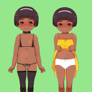Rating: Questionable Score: 2 Tags: 1girl bangs bare_arms bare_shoulders black_legwear blunt_bangs blush bow bow_panties brown_skin closed_mouth collar crotchless crotchless_pantsu die-dangine_factory dress dress_lift flat_chest full_body hairband lifted_by_self looking_at_viewer navel original pantsu pussy shiny shiny_skin short_hair simple_background smile solo standing thighhighs uncensored underwear white_pantsu User: Domestic_Importer