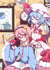 Rating: Safe Score: 2 Tags: 2girls :d ^_^ artist_request ascot bangs bat_wings bespectacled black_hairband blue_hair blue_shirt blush book chair clock closed_eyes eyebrows_visible_through_hair fang feet_out_of_frame floral_print flower frilled_shirt_collar frilled_sleeves frills glasses hair_between_eyes hair_ornament hairband hand_up hands_on_another's_shoulders hat hat_ribbon head_tilt heart heart_hair_ornament highres holding holding_book holding_pen indoors kaenbyou_rin kaenbyou_rin_(cat) komeiji_satori long_sleeves looking_at_viewer mob_cap multiple_girls nail_polish open_mouth pen picture_frame pink_eyes pink_hair pink_skirt pot puffy_short_sleeves puffy_sleeves red-framed_eyewear red_flower red_nails red_neckwear red_ribbon red_rose red_sash reiuji_utsuho reiuji_utsuho_(bird) remilia_scarlet ribbon ribbon-trimmed_collar ribbon_trim roman_numerals rose sash shirt short_hair short_sleeves sitting skirt smile touhou_project white_headwear wide_sleeves window wings User: DMSchmidt