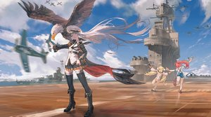 Rating: Safe Score: 1 Tags: 10s 1girl ahoge aircraft aircraft_carrier azur_lane bailey_(azur_lane) bangs battleship bird blonde_hair breasts cloud cloudy_sky cowtits deck detached_sleeves eagle eldridge_(azur_lane) enterprise_(azur_lane) eyebrows_visible_through_hair hat large_breasts long_hair looking_at_viewer lying mary_janes medium_breasts military military_vehicle miniskirt necktie ocean on_back orange_eyes overalls pantsu peaked_cap puffy_detached_sleeves puffy_sleeves purple_eyes red_hair rias-coast runway ship shirt shoes silver_hair skirt sky sleeveless smile solo thighhighs twin_tails two_side_up underwear very_long_hair warship watercraft white_legwear white_pantsu User: Domestic_Importer