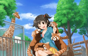 Rating: Safe Score: 0 Tags: 1girl akagi_miria animal annin_doufu black_hair blush brown_eyes chain-link_fence cheek_licking cloud day face_licking fence giraffe highres idolmaster idolmaster_cinderella_girls idolmaster_cinderella_girls_starlight_stage kneehighs licking log official_art one_eye_closed park pleated_skirt red_panda shippo_mofumofu_(idolmaster) short_hair sitting skirt sky tongue tree twin_tails two_side_up yellow_skirt zoo User: Domestic_Importer