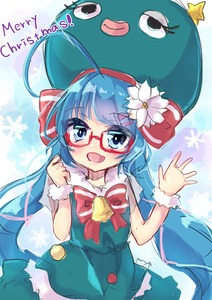 Rating: Safe Score: 0 Tags: 1girl bell blue_eyes blue_hair bow christmas dress fang glasses green_dress hair_flower hair_ribbon hat irodorikaeru long_hair looking_at_viewer otomachi_una red_hairclip ribbon simple_background smile snowflakes solo very_long_hair vocaloid waving wrist_scrunchie User: Nitro