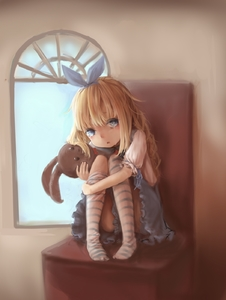 Rating: Questionable Score: 9 Tags: 1girl blue_eyes funeral_party looking_at_viewer pantsu skirt striped_legwear stuffed_animal stuffed_toy tears thighhighs underwear User: fantasy-lover