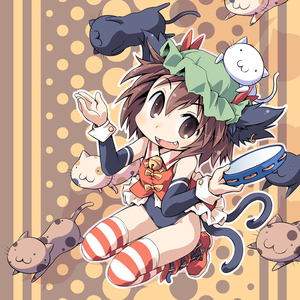 Rating: Safe Score: 2 Tags: 1girl alternate_costume animal_ears bell brown_eyes brown_hair cat cat_ears cat_tail chen earrings fangs ham_(points) hat instrument jewellery no_pants short_hair solo striped striped_legwear tail tambourine team_shanghai_alice thighhighs too_many too_many_cats touhou_project User: DMSchmidt