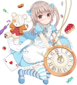 Rating: Safe Score: 4 Tags: 1girl :o alice_(wonderland) alice_(wonderland)_(cosplay) alice_in_wonderland apron bandages bangs blue_dress blue_footwear blue_legwear blue_neckwear blue_ribbon blush brown_eyes candy card collared_dress cosplay dress eyebrows_visible_through_hair floating food frilled_apron frilled_dress frilled_sleeves frills full_body girls_und_panzer hair_ribbon highres holding holding_stuffed_animal light_brown_hair lollipop long_hair looking_at_viewer macaron mary_janes medium_dress neck_ribbon one_side_up parted_lips pie playing_card pocket_watch puffy_short_sleeves puffy_sleeves ribbon shimada_arisu shoes short_sleeves shuuichi_(gothics) solo stuffed_animal stuffed_toy teddy_bear thgjexe umbrella watch white_apron User: DMSchmidt