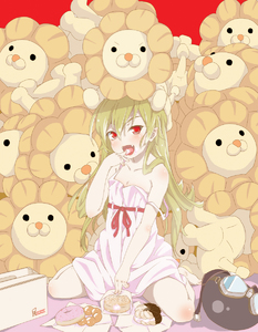 Rating: Safe Score: 0 Tags: 1girl bakemonogatari bare_shoulders barefoot blonde_hair doughnut fangs goggles hands headwear_removed helmet helmet_removed highres lion long_hair mister_donut monogatari_(series) oshino_shinobu pon_de_lion red_eyes solo strap_slip User: DMSchmidt