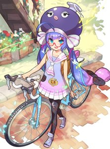 Rating: Safe Score: 1 Tags: 1girl :d ahoge animal_hat aqua_eyes aqua_ribbon arm_at_side ascot backpack bag bangs bicycle black_legwear blue_dress blue_footwear blue_hair blue_shoes blunt_bangs blush chromatic_aberration clenched_hand collarbone collared_dress day dress eel_hat eyebrows_visible_through_hair fingernails flower full_body glasses gradient_dress gradient_footwear gradient_ribbon ground_vehicle hair_ornament hair_ribbon hairclip hat huge_ahoge lavender_hair leaf long_hair looking_at_viewer low_twintails mortarboard multicoloured multicoloured_clothes multicoloured_dress multicoloured_hair multicoloured_ribbon multicoloured_shoes official_art open_mouth orange_flower otomachi_una outdoors pantyhose pavement pink_dress pink_hair pink_ribbon plaid plaid_legwear plaid_ribbon pleated_dress purple_hair purple_shoes railing red-framed_eyewear red_flower ribbon sailor_collar sailor_dress saitou_naoki school_uniform semi-rimless_eyewear shadow shoe_ribbon shoelaces shoes sleeveless sleeveless_dress smile sneakers solo stairs tsurime twin_tails under-rim_eyewear very_long_hair vocaloid walking watch white_dress white_flower white_ribbon white_sailor_collar wristwatch User: Domestic_Importer